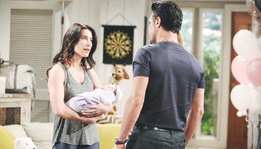 Bold And The Beautiful Poll: Steffy Forrester Holds Kelly As She Talks To Bill Spencer