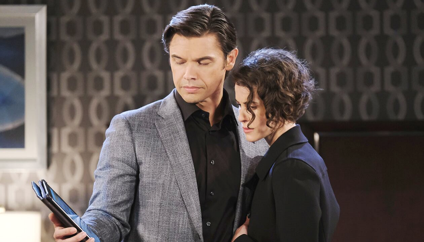 Days Of Our Lives Scoop: Xander Cook And Sarah Horton Look At What She Discovered About Philip Kiriakis